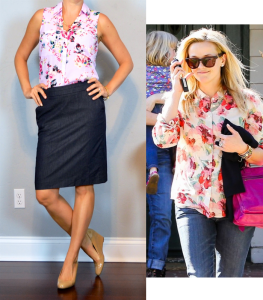 outfit post: pink floral blouse, denim pencil skirt, nude wedges
