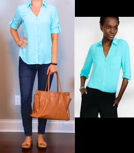 outfit post: aqua 'portofino' shirt, skinny jeans, camel flats