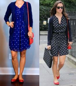 outfit post: blue polka-dot dress, navy boyfriend cardigan, red bow flats