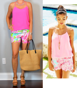 outfit post – las vegas: pink reversible cami, scalloped pink print shorts, brown sandals
