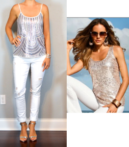outfit post – las vegas: silver sequin top, white distressed jean, silver heels