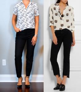 outfit post: dandelion short sleeved utility blouse, black ankle pants, black pointed toe pumps