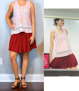 outfit post: jardin swing tank, red flippy skirt, brown sandals