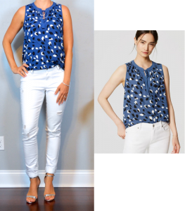 outfit post: blue vine print top, white distressed jeans, silver heels