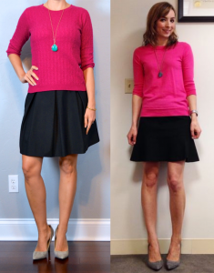 outfit post: pink sweater, black a-line skirt, grey pointed toe heels