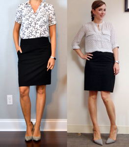 outfit post – twofer: dandelion short sleeved utility blouse, black pencil skirt, grey pointed toe pumps
