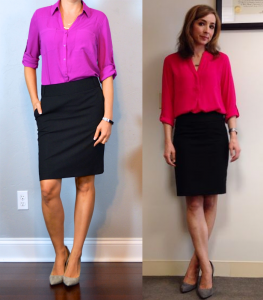 outfit post – twofer: pink portofinio shirt, black pencil skirt, grey pointed toe pumps