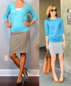 outfit post: teal v-neck sweater, grey pencil skirt, snakeskin pumps