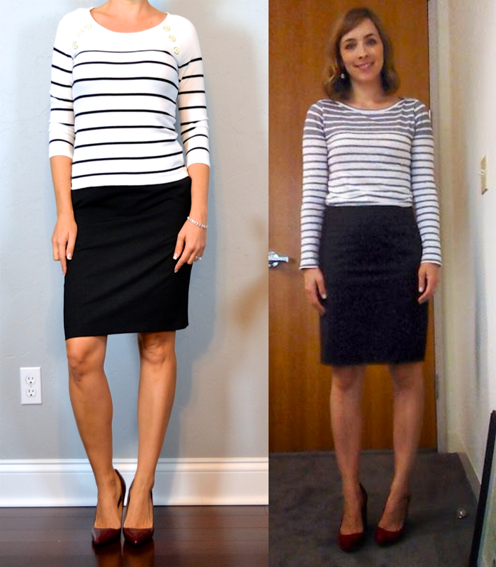 Outfit Post Striped Top Black Pencil Skirt Burgundy Shoes