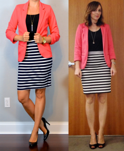 outfit post: coral blazer, striped jersey pencil skirt, black pumps