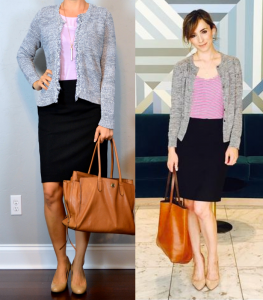 outfit post: blue/grey fringe trim cardigan, lilac tank, black pencil skirt, nudge wedges