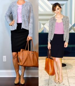 outfit post: blue/grey fringe trim cardigan, lilac tank, black pencil skirt, nudge wedges
