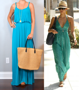 outfit post: aqua maxi, brown wedges, straw bag