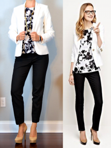 outfit post: white jacket, black & white sleeveless floral top, black ankle pants