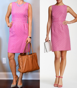 outfit post: pink sleeveless jacquard dot sheath dress, grey pointed toe pumps