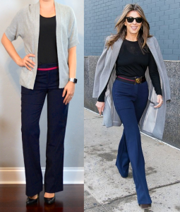 outfit post: grey open cardigan, black cami, navy pants, black pumps