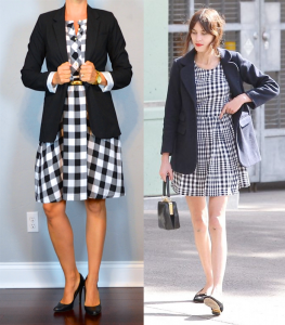 outfit post: gingham dress, black boyfriend blazer, black pumps