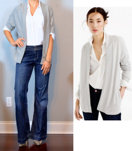 outfit post: grey open cardigan, white portofino shirt, wide leg jeans, snakeskin pumps