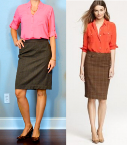 outfit post: peach portofino shirt, brown pencil skirt, leopard wedges