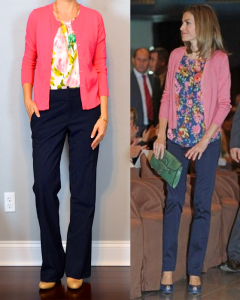 outfit post: pink cardigan, floral crepe shell, navy pants, nude wedges