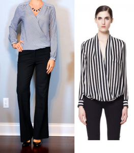 outfit post: stripe crossover blouse, black pants, black pumps