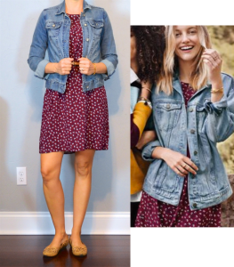 outfit post: burgundy printed shift dress, jean jacket, cutout nude flats