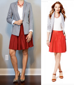 outfit post: grey blazer, white ruffle shell, red flippy skirt, snakeskin pumps