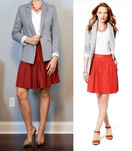 outfit post: grey blazer, white ruffle shell, red flippy skirt, snakeskin pumps