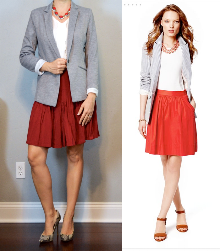 Outfit post grey blazer white ruffle shell red flippy skirt snakeskin pumps