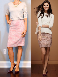 outfit post: pink tweed pencil skirt, cream sweater, burgundy heels