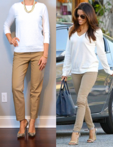outfit posts: beige ankle pant, white lace sweater, snakeskin pumps