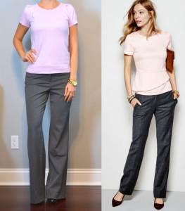 outfit post: pink top, grey work pants, black pumps