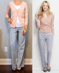 outfit post: pink cardigan, white cami, grey 'editor' pants
