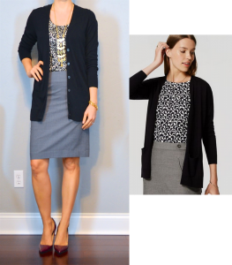 outfit post: black boyfriend cardigan, dot blouse, grey pencil skirt