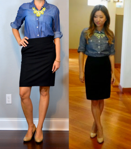outfit post: chambray shirt, black pencil skirt, yellow statement necklace, nude wedges