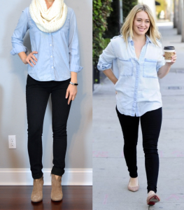outfit post: highlands, nc: chambray shirt, black skinny jeans, ankle boots, cream infinity scarf