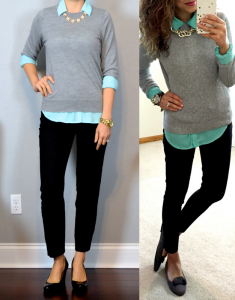 outfit post: grey sweater, turquoise portofino shirt, black ankle pants, black wedges