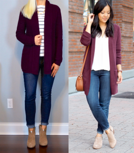 outfit post: burgundy knit cardigan, striped shirt, skinny jeans, ankle boots
