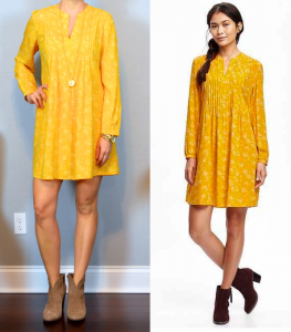 outfit post: yellow swing dress, ankle boots