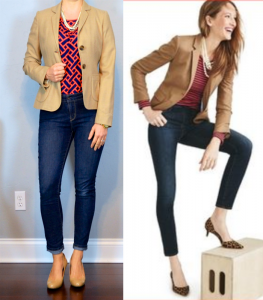 outfit post: camel blazer, herringbone print blouse, skinny jeans