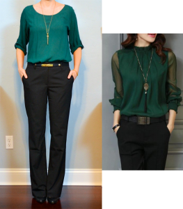 outfit post: green blouse, black pants, black pumps