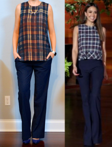 outfit post: plaid shell, navy pants, navy pumps