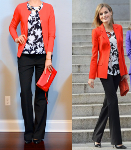 outfit post: floral shell, red cardigan, black pants, black pumps