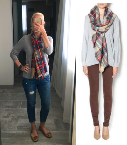outfit post: grey sweater, distressed cropped jeans, blanket scarf