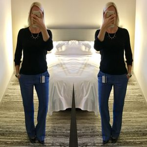 Outfit post: black sweater, blue trousers, navy pumps