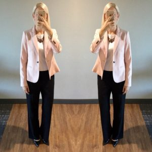 outfit post: pink blazer, white shell, black work pants, black pointed toe pumps
