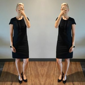 outfit post: black ruffle dress, black patent wedges