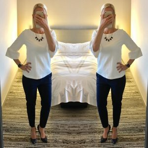 Outfit post: white bell sleeve top, navy ankle pants, navy pumps