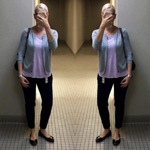 Outfit posts: grey cardigan, purple top, black ankle pants