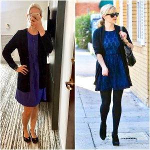 Outfit post: blue dress, black boyfriend cardigan, black flats